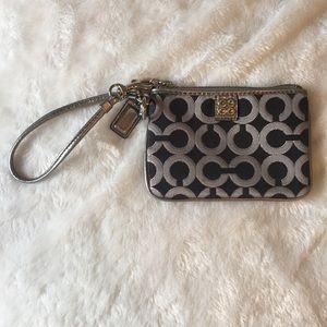 Coach poppy print gray silver wristlet wallet EUC